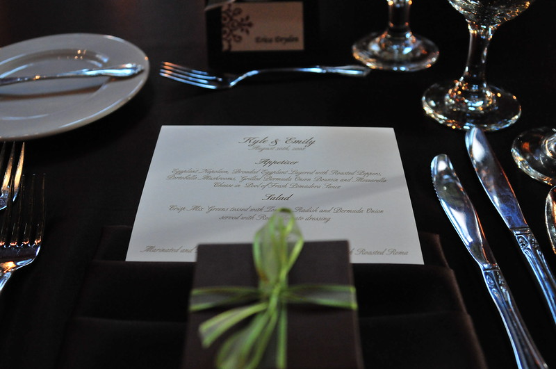 Nelman Wedding Reception, Placesettings