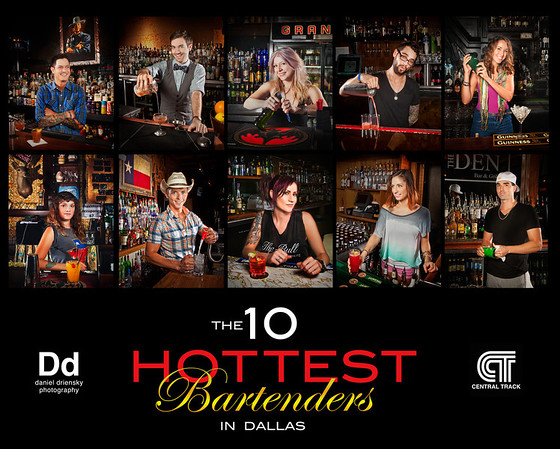 "'Cheers!' feature on centraltrack.com featuring my photos of<br /> ""The Ten Hottest Bartenders in Dallas""<br /> Photos © Daniel Driensky 2012"