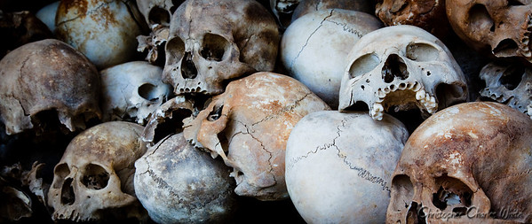 Human Skulls at The Killing Fields in Phnom Penh, Cambodia