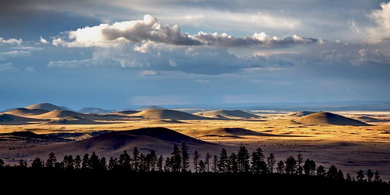Sunset on hills west of Springerville, Apache National Forest, AZ (Oct 2015, HDR)