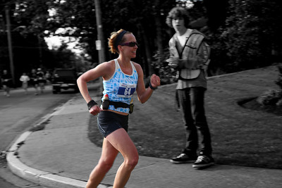 Dana blasting by at Victoria Marathon (Oak Bay area)