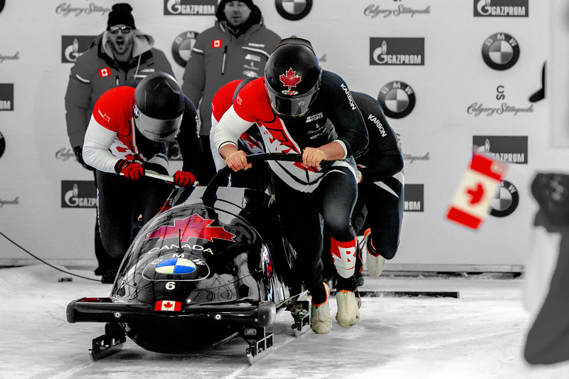 February 24, 2019 - Calgary, AB - Team Canada's Nicholas Poloniato at the start of the second heat during Men's Four Man Bobsleigh World Cup competition at the Winsport track in Calgary.