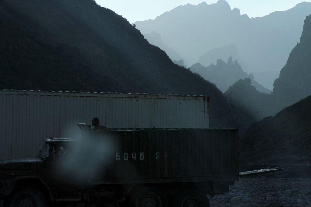 Truckers wait their turn <br /> <br /> Pamir, Tajikistan