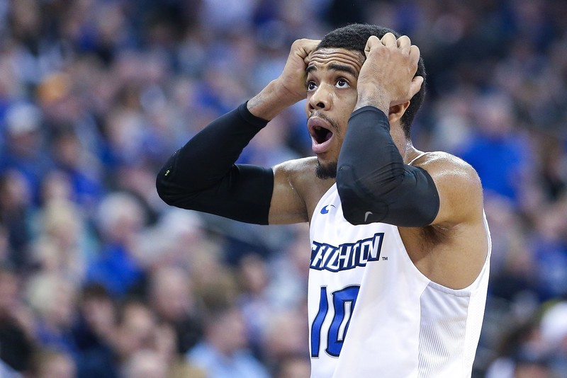 Creighton guard Maurice Watson Jr. reacts to a call against Villanova on January 2, 2016 at the CenturyLink Center in Omaha, Nebraska.