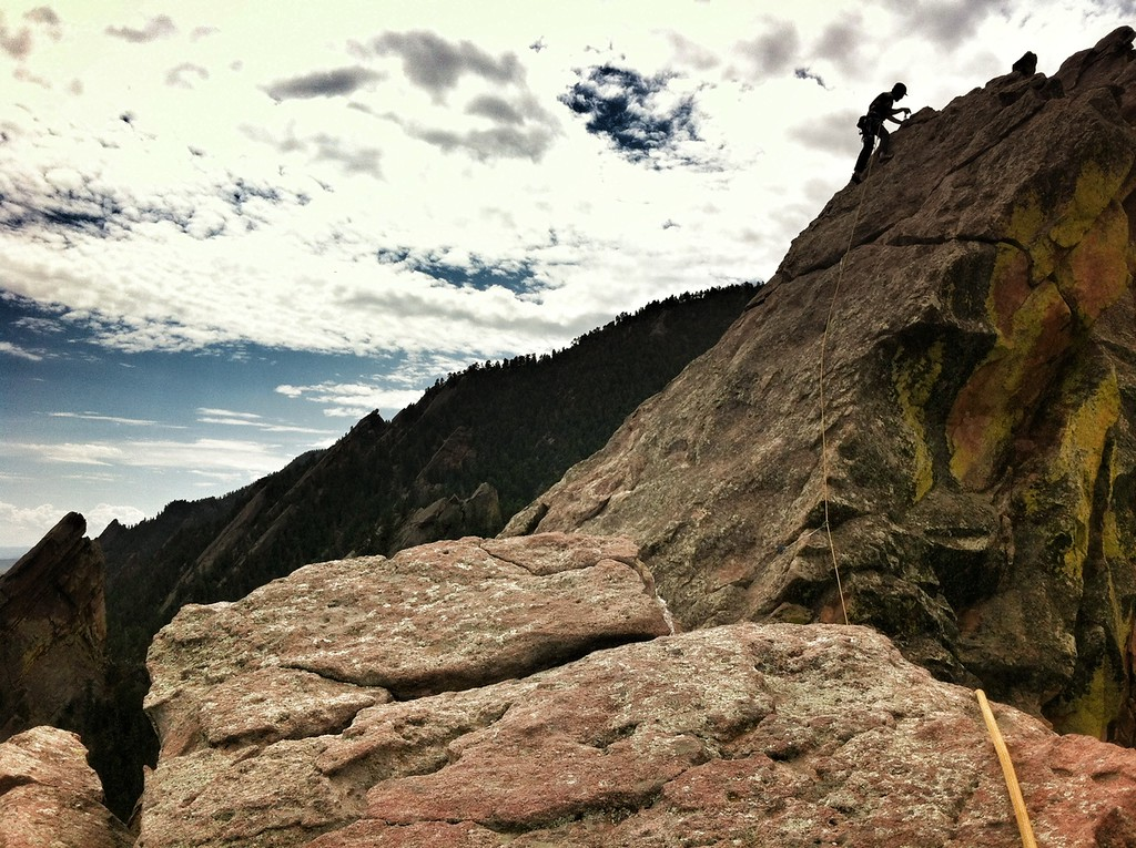 Travis Drake leads me up a Flatiron<br /> <br /> Boulder, CO