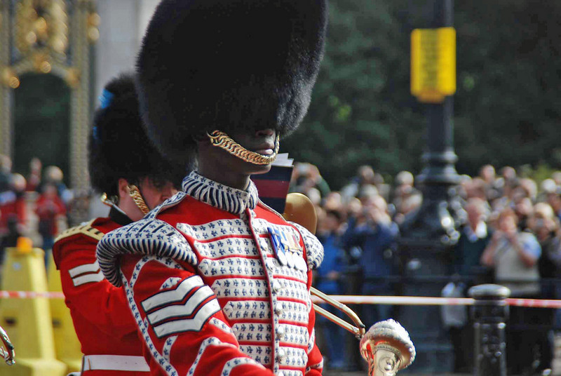 The drum major of the Queen's Trumpeters.