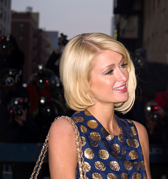 Paris Hilton outside the Ed Sullivan Theater before a David Letterman appearance on January 28, 2008.