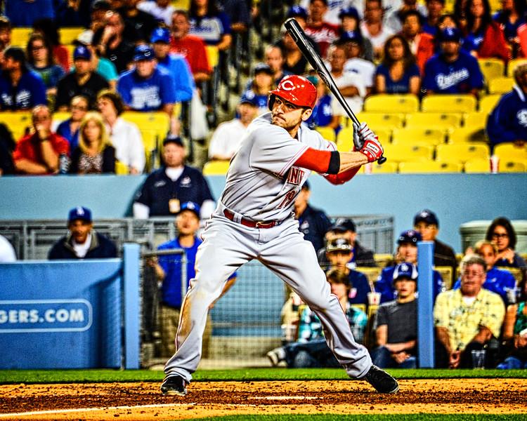 Joey Votto of the Cincinnati Reds bats in Dodger Stadium.