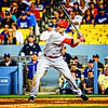 Joey Votto of the Cincinnati Reds bats in Dodger Stadium.