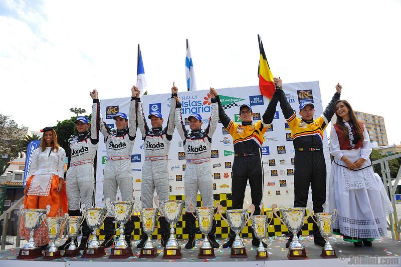 Podium: Juho Hanninen (FIN) Mikko Markkula (FIN) Skoda Fabia S2000, Skoda Motorsport (race winner), Jan Kopecky (CZE) Petr Stary (CZE) Skoda Fabia S2000, Skoda Motorsport (2nd position) and Thierry Neuville (BEL) Nicolas Gilsoul (BEL) Peugeot 207 S2000, Peugeot Team Belux (3rd position)