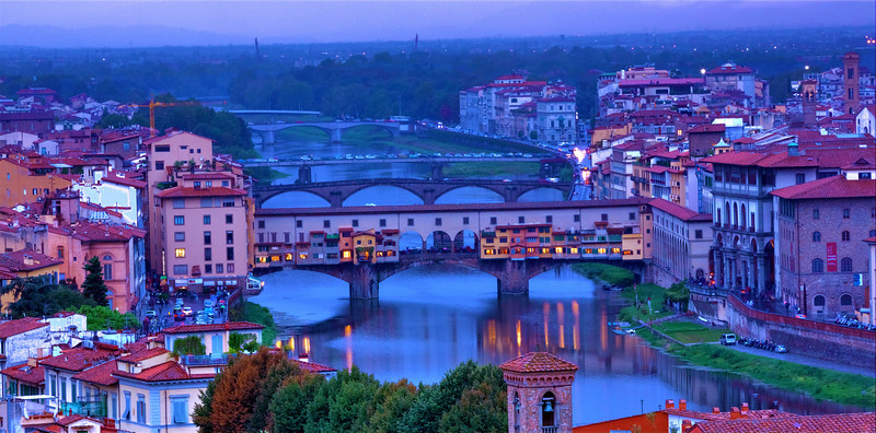 View of Ponte Vecchio and Ponte Santa Trinita bridges from Michelangelo Square at Dusk