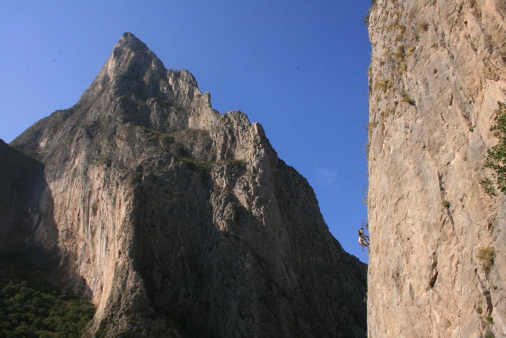 Edwin Teran & Patrick Aschwanden finish a climb<br /> <br /> El Potrero Chico, Mexico