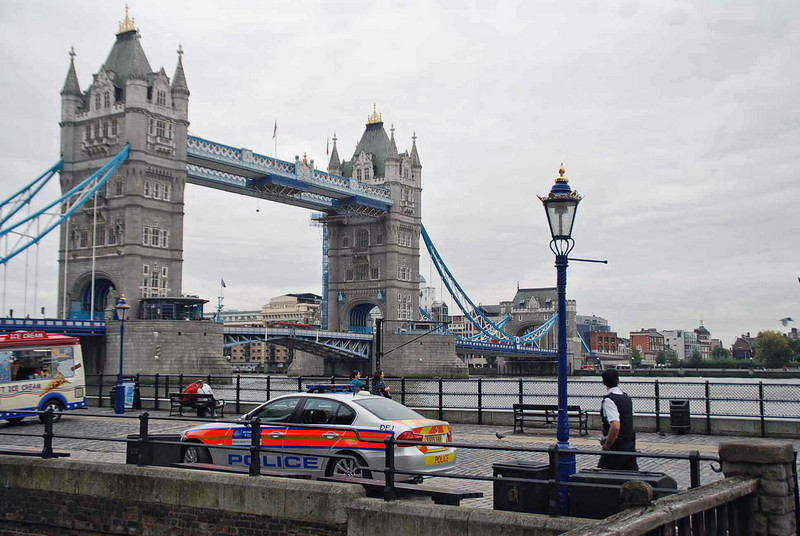 The Tower Bridge as seen from the Tower of London.