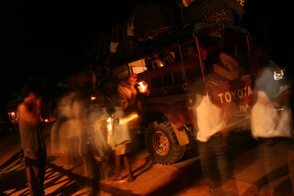 Twenty-plus people in one truck, thirty-hour trip up the Northeastern Malagasy coast<br /> <br /> outside Mahambo, Madagascar