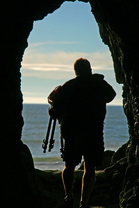 Shaun Walking through Sea Cave at Oceanside, OR