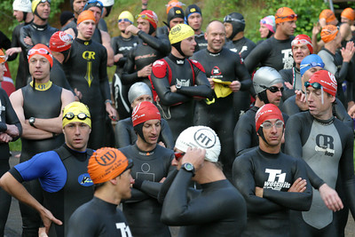 Triathletes prepare for the swim in the Auburn International Triathlon at Folsom Lake California.