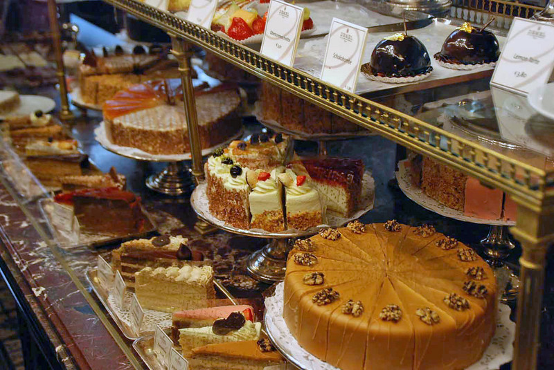 The confections on display at Demel's Cafe.  Demel's is one of the oldest confectionaries in Vienna dating from the 1700's.