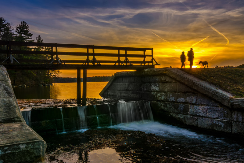 Dog Walkers at Sunset - Spillway at Ashland State Park