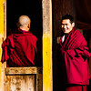 Monks of Rongwo Monastery chatting before the Cham dance.