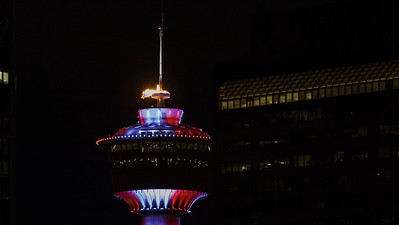CALGARY(AB) August 11, 2016 - The Calgary Tower was lit in Canada's Red and White after Penny Oleksiak and Team Canada won gold during the 2016 Rio Olympics.