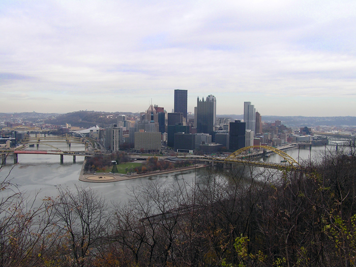 Point State Park and Pittsburgh.  An early shot of Pittsburgh in late fall (from Mt. Washington - I think).