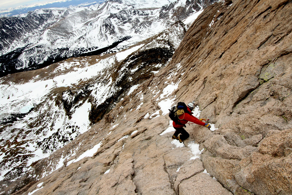 Alexander Lee climbs down Longs Peak<br /> <br /> Rocky Mountain NP, CO