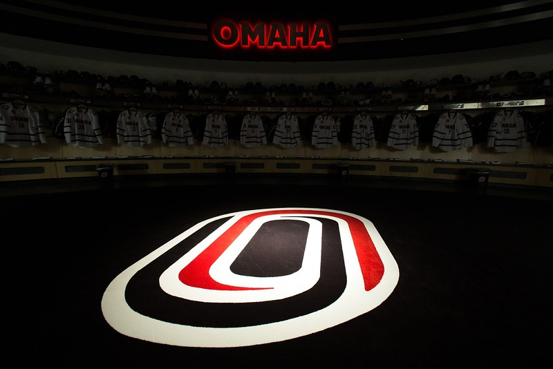 General view of the University of Nebraska-Omaha hockey locker room on February 22, 2018.
