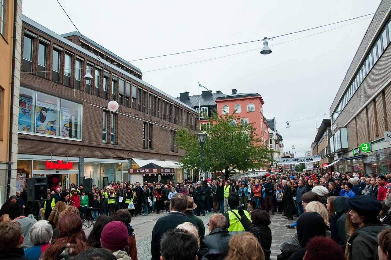 Antirasistisk demonstration i Uppsala 2010