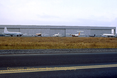 Line-up of Canadian aviation history at the National Aviation Museum (next to Rockcliffe AB). From left to right: The CP-107 Argus 2; a Trans Canada Airlines Vickers 757 Viscount; a Transport Canada Lockheed Jetstar6; a De Haviland Canada DHC-7-100 Dash7; a RCAF Avro Canada CF-100 Mk5 and a Canadair C-54GM North Star Mk1 (DC-4M). Scan from slide.