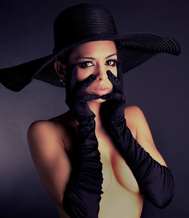 'Woman In Black Gloves and Black Hat'