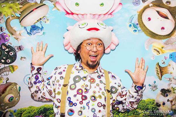 'Takashi Murakami, Artist, with characters he created for his film 'Jellyfish Eyes 5/1/14'