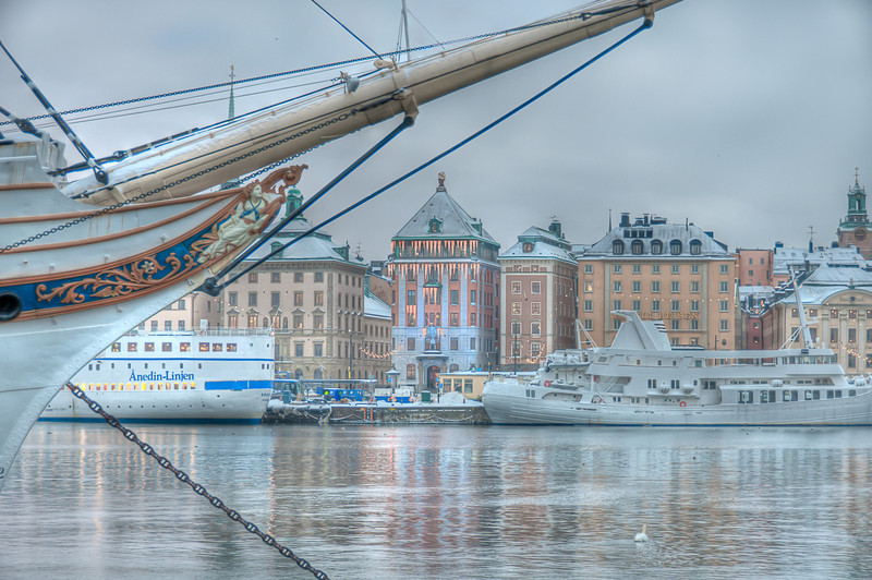 Stockholm's Old Town framed by Af Chapman, an old full rigger now serving as a youth hostel.