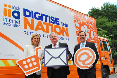 At the launch of 'Digitise the Nation', Joan Mulvihill IIA, Minister Pat Rabbitte and Martin O'Leary, Marketing Manager RaboDirect