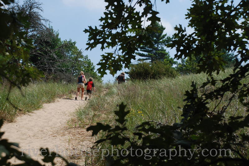 Hiking the trails in Saugatuck Dunes State Park.