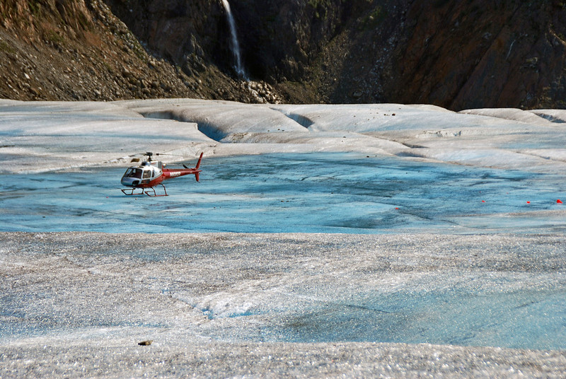 The helicopter that transported us to the Mendenhall Glacier.