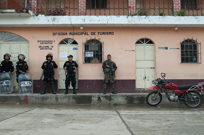 Soldiers and riot police occupy the town center on the day of the referendum in Uspantán, El Quiché. Following negotiations with community leaders, the security forces were removed to a location away from the voting.