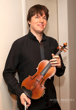 Joshua Bell, Grammy Award-Winning Violinist, with his 1713 Gibson ex Huberman Stradivarius<br /> Backstage at Myerson Symphony Center, Dallas, TX <br /> Daniel Driensky © Sept 2011