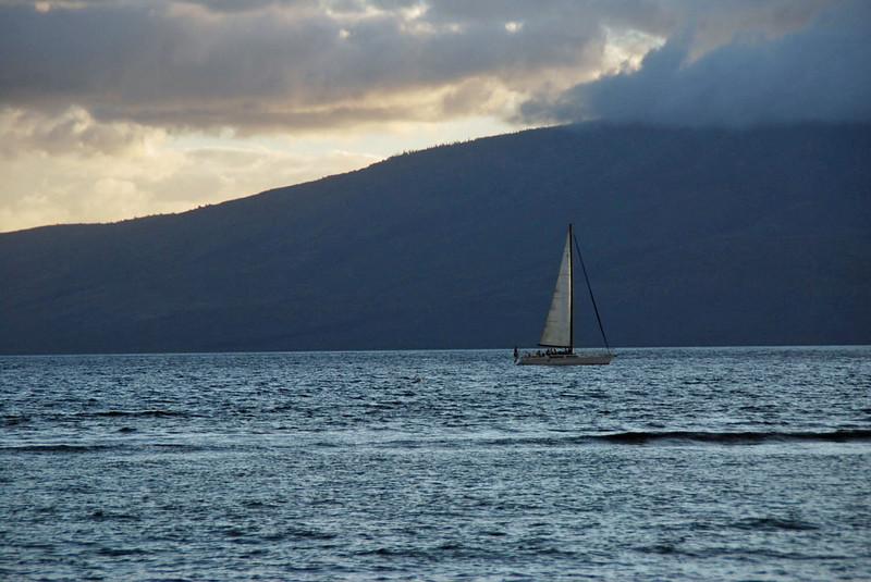 Sailing off Lahaina.
