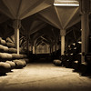 <h2>Williams and Humbert Bodega</h2><h3>Cadiz, Spain</h3> The barrels are filled with sherry.  This building is designed to stay at a particular temperature and humidity.  Part of this is accomplished by allowing the rain water to flow into the room and down the pillars.  It then soaks into the ground and helps to maintain the humidity level.