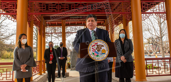 Gov. JB Pritzker holds a press conference about racism
