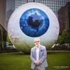 'Tony Tasset With His Sculpture 'Eye''<br /> Dallas, Texas, 4/12/14<br /> Photo © Daniel Driensky
