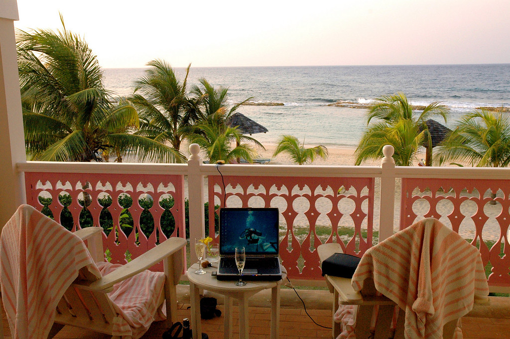 Jamaica balcony still life with laptop PC