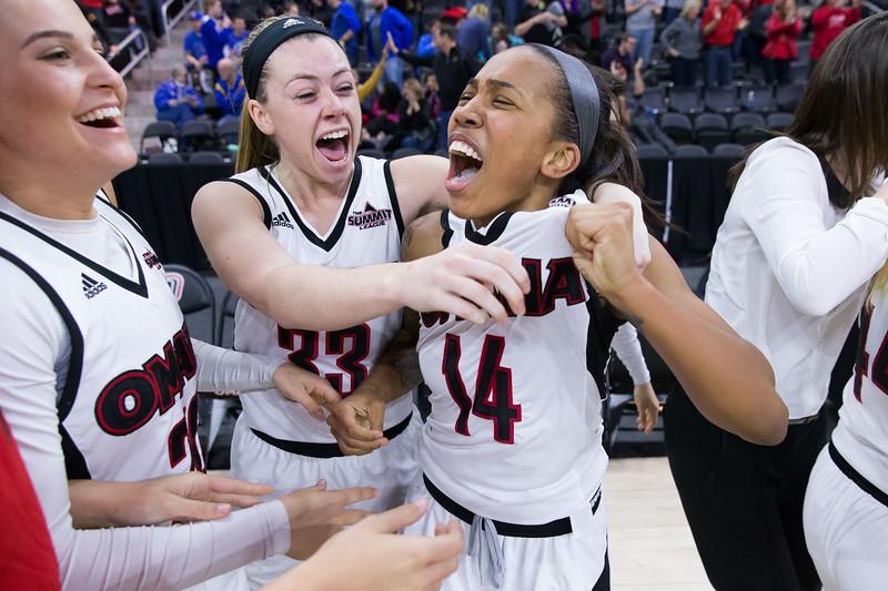 University of Nebraska-Omaha guard Marissa Preston celebrates with teammates after making a game-winning three-point shot against South Dakota State on January 28, 2017 in Omaha, Nebraska.