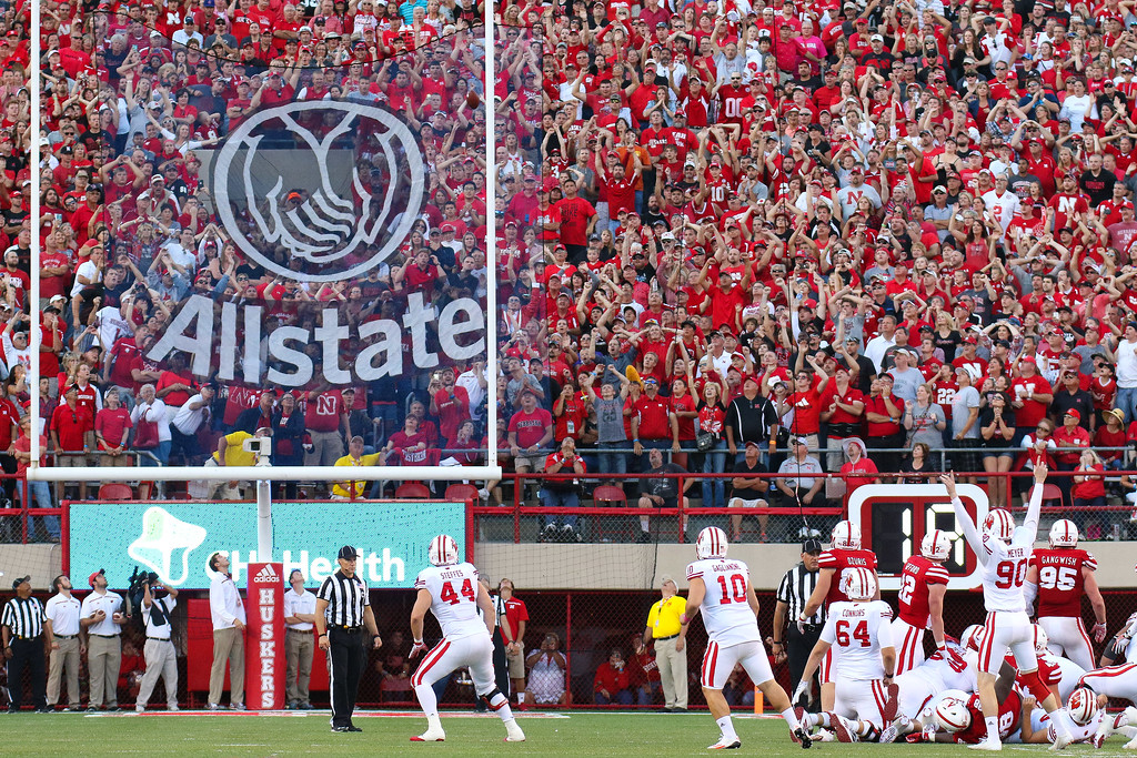 Wisconsin kicker Rafael Gaglianone kicks a game-winning field goal to defeat Nebraska 23-21 in a game played at Memorial Stadium in Lincoln, Nebraska on October 10, 2015.