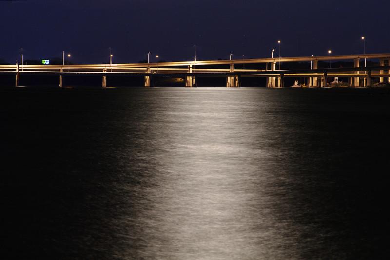 Moonlight over Hwy 190 bridge, Lake Ray Hubbard, Garland, TX (Apr 2012)