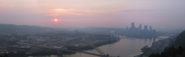 A hazy summer morning in Pittsburgh.  Shot from the West End Overlook.