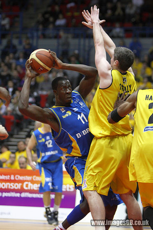 17 Jan 2010 - Birmingham NIA - Tafari Toney of the Sheffield Sharks goes for the basket as Sheffield secured the first silverware of the season with a thrilling 89-86 victory over Chester Jets in the BBL Cup Final at the National Indoor Arena in Birmingham