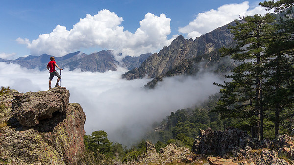 """Joonas is a """"wanderer above a sea of fog""""... from the Punta di Bonassa on our way across the island of Corsica."""