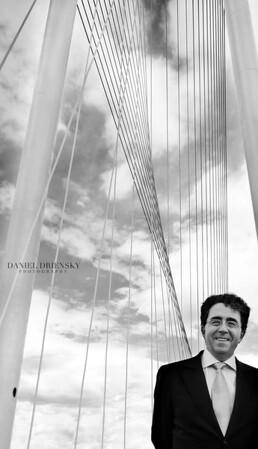 Santiago Calatrava, Spanish Architect/Structural Engineer, on his Margaret Hunt Hill Bridge, 3/3/12<br /> Dallas, Texas<br /> Daniel Driensky © 2012