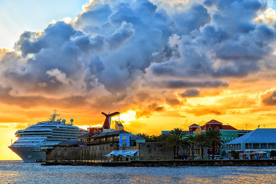 Carnival Valor in port at sunset, Willemstadt, Curacao, Netherlands Antilles
